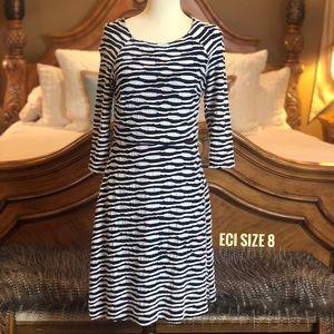 eci Navy & White 3/4 Sleeve Dress Size 8
